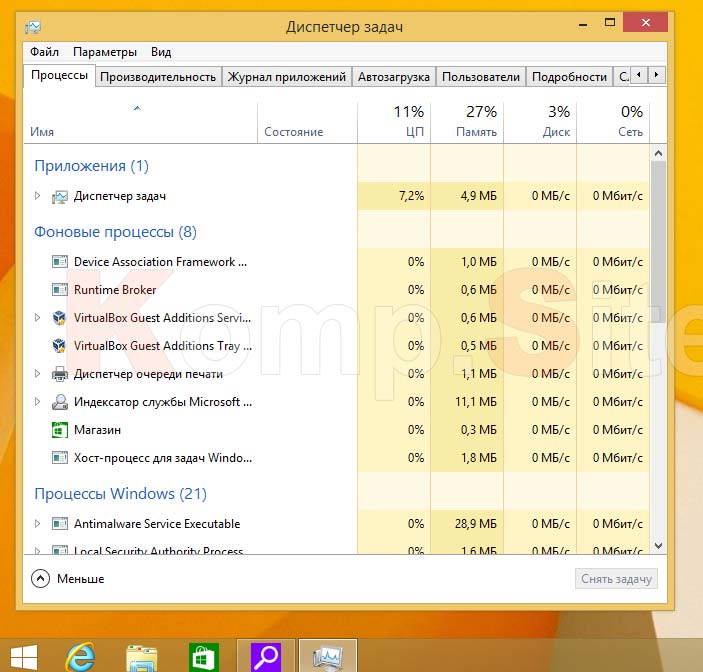 диспетчер задач windows 8